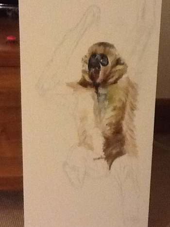Starting to fill in the detail. I didn't anticipate that painting fur would be so much effort.