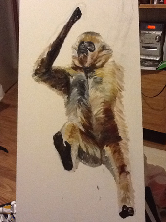 Several hours after I started...the monkey figure is almost complete.
