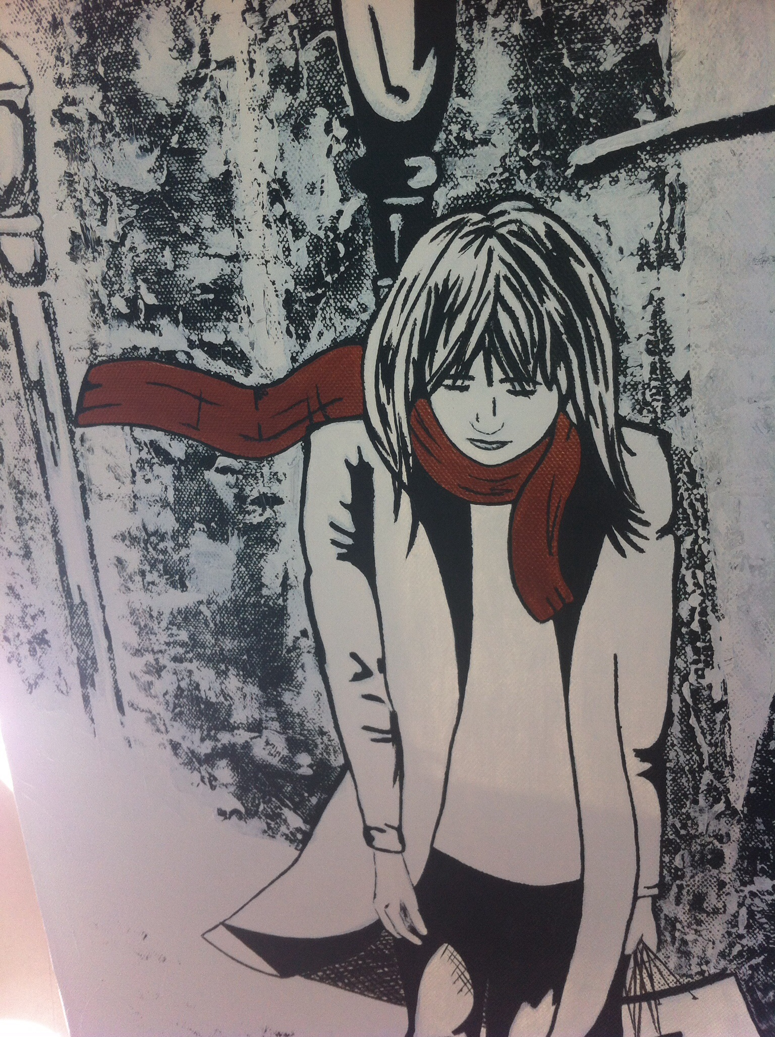 Detail of Winter Girl Painting